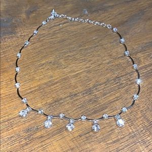 Silver diamond choker type necklace